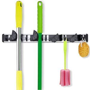 Coolreall™ Broom Hanger Garage Organizer, Mop Broom Holder Wall Mounted Rack  Gardening Shed Tool Hook Garage Storage With 4 Positions 5 Hooks 1.